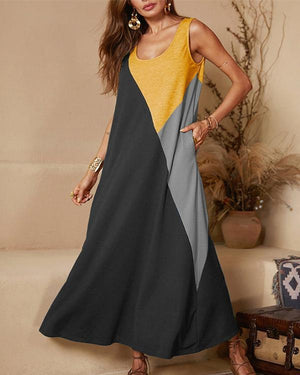 Casual Crew Neck Sleeveless Stitching Vest Dress