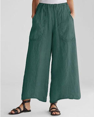 Cotton & Linen Pockets Plus Size Wide Leg Casual Pants