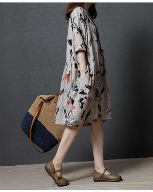 Plus Size Women Loose Floral Print Cotton Dress