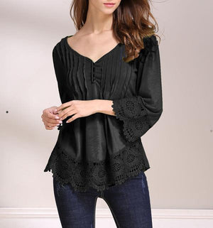 Sexy V Neck Lace Crochet 3/4 Sleeve Slim Blouse Tops