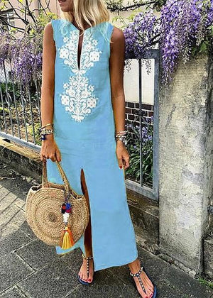 Cotton Floral Sleeveless Maxi Shift Dress