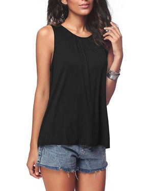 Casual Crew Neck Sleeveless Solid Plus Size Vests Tops