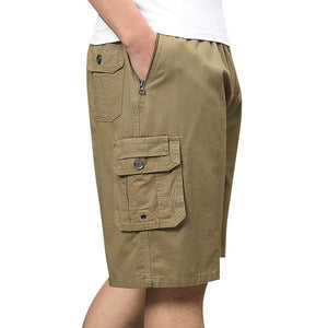 Multi-pocket Cargo Shorts Elastic Waist Loose Fit Cotton Work Shorts