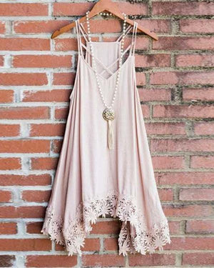 V-Neck Sling Irregular Hem Lace Vest Top