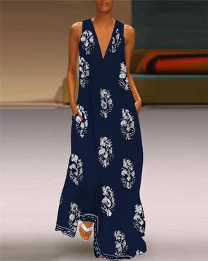 Sleeveless Feather Printed Beach Holiday Daily Fashion Maxi Dresses