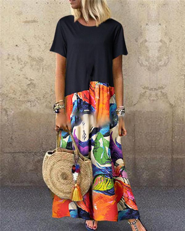 Summer Casual Fashion Printed Crew Neck Short Sleeve Maxi Dress