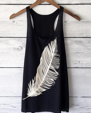 Feather Print Sexy Plus Size Vests Tops