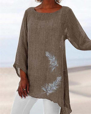 Feather Printed Plus Size Summer Women Holiday Blouse