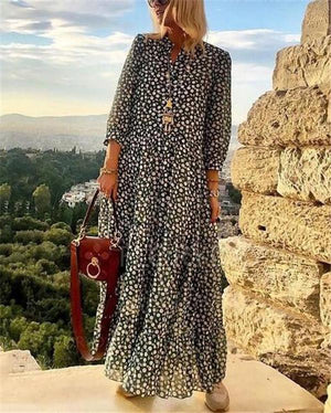 V Neck 3/4 Sleeve Polka Dots Maxi Dress