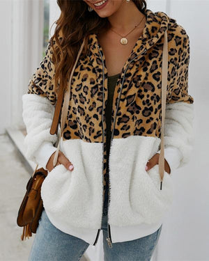 Fashion Leopard Zip-Up Patchwork Hooded Coat (5 Colors)