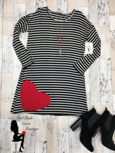 Load image into Gallery viewer, Long Sleeve Black and White Striped Heart Dress - Sassy Chick Clothing