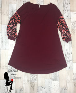 Animal Print Swing Dress - Red Apple Vixen Boutique