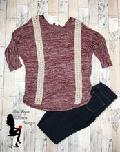 Load image into Gallery viewer, Burgundy Long Sleeve Knit Blouse - Red Apple Vixen Boutique
