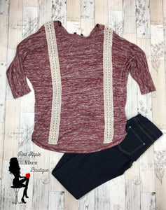 Burgundy Long Sleeve Knit Blouse - Red Apple Vixen Boutique