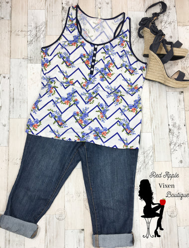Blue Chevron and Floral Racer Back Tank - Red Apple Vixen Boutique