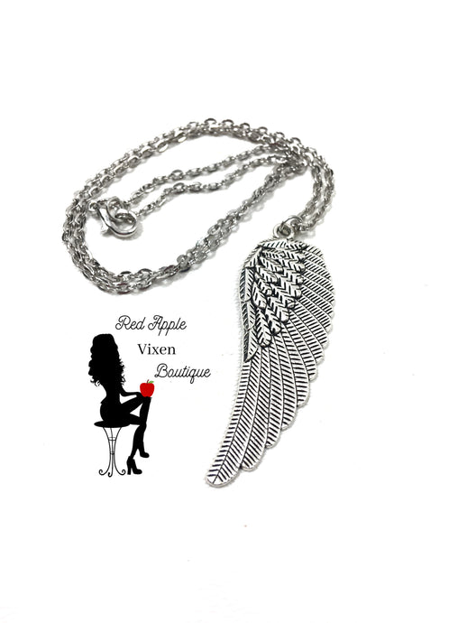 Angel Wing Pendant Necklace - Red Apple Vixen Boutique