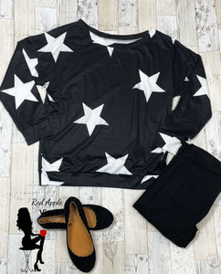 Black and White Star Print Sweatshirt