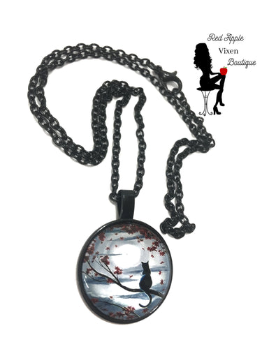 Black Cat and Moon Pendant Necklace - Sassy Chick Clothing