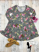 Load image into Gallery viewer, Floral checkered Baby Doll Swing Tunic Dress - Red Apple Vixen Boutique