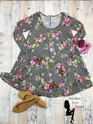 Floral checkered Baby Doll Swing Tunic Dress - Sassy Chick Clothing