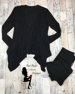 Solid Black Drape Open Front Cardigan - Sassy Chick Clothing