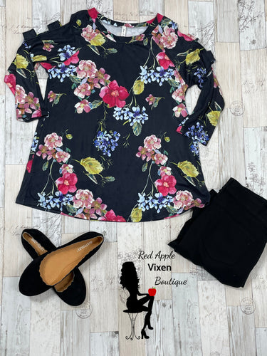 Cold Shoulder Open Arm Floral Print Tunic