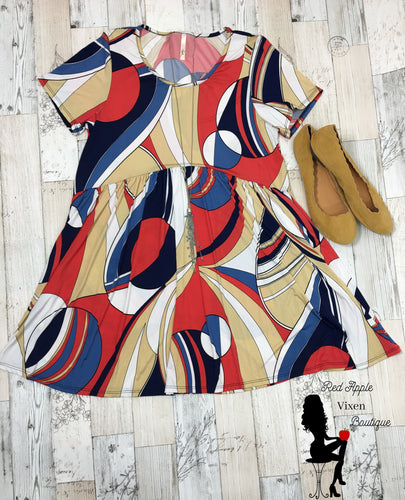 Multi Colored Geo Print Dress - Red Apple Vixen Boutique