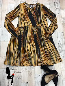Gold and Black Long Sleeve Dress - Sassy Chick Clothing