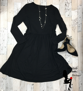 Black Long Sleeved Midi Dress - Red Apple Vixen Boutique
