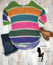 Load image into Gallery viewer, Loose Knit Multi Color Stripe Tunic  Plus
