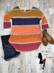 Loose Knit Multi Color Stripe Tunic