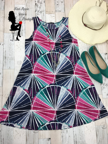 Multi Colored Summer Tank Dress - Sassy Chick Clothing
