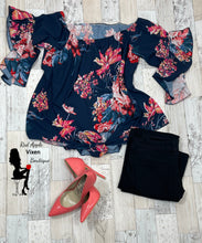 Load image into Gallery viewer, Navy Floral Tunic - Red Apple Vixen Boutique