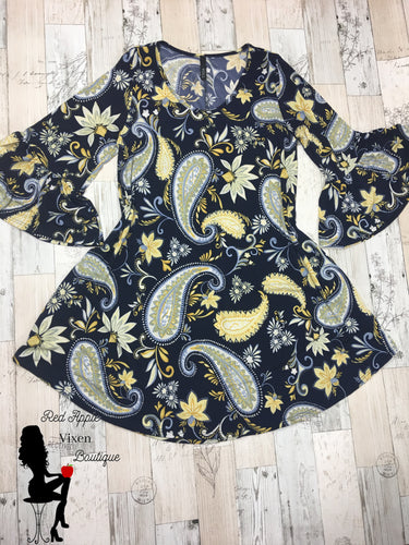 Navy Blue and Yellow Paisley Print Dress - Red Apple Vixen Boutique
