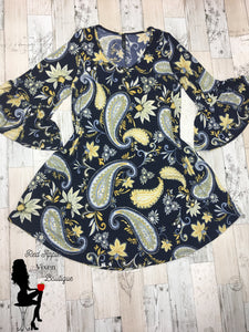 Navy Blue and Yellow Paisley Print Dress - Sassy Chick Clothing