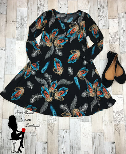 Peacock Print Women's Swing Dress - Sassy Chick Clothing