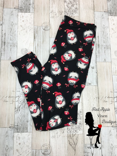 Full Length Christmas Penguin Print Leggings - Sassy Chick Clothing