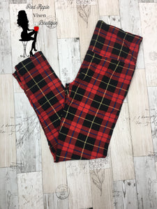 Plaid Print Full Length Leggings - Red Apple Vixen Boutique