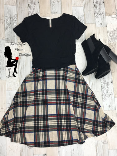 V Neck Solid Black Top and Plaid Skirt Dress - Sassy Chick Clothing