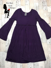 Load image into Gallery viewer, Solid Purple Bell Sleeve Dress - Sassy Chick Clothing