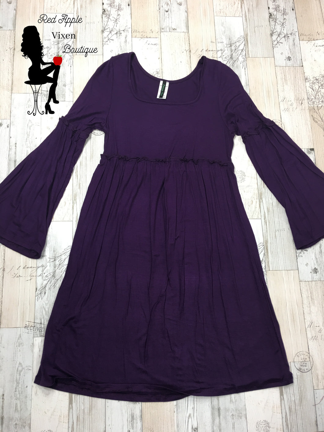 Solid Purple Bell Sleeve Dress - Sassy Chick Clothing