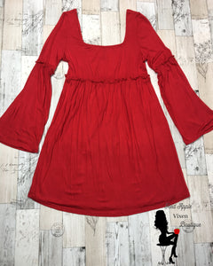 Solid Red Bell Sleeve Dress - Sassy Chick Clothing