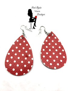 Red and White Polka Dot Print Earrings - Sassy Chick Clothing