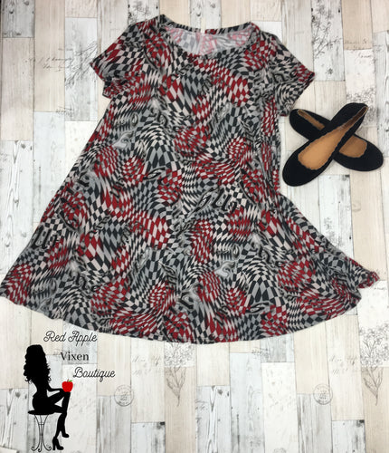 Red, Black and Grey Checkerboard Swirl Dress - Sassy Chick Clothing