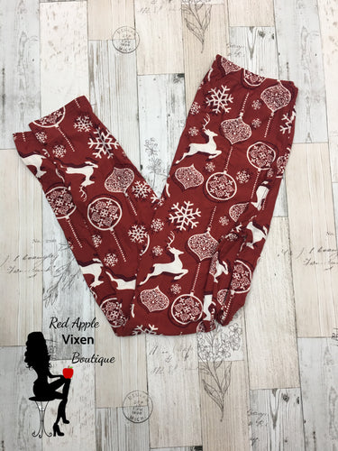 Full Length Reindeer, Snowflake and Ornament Print Leggings - Sassy Chick Clothing