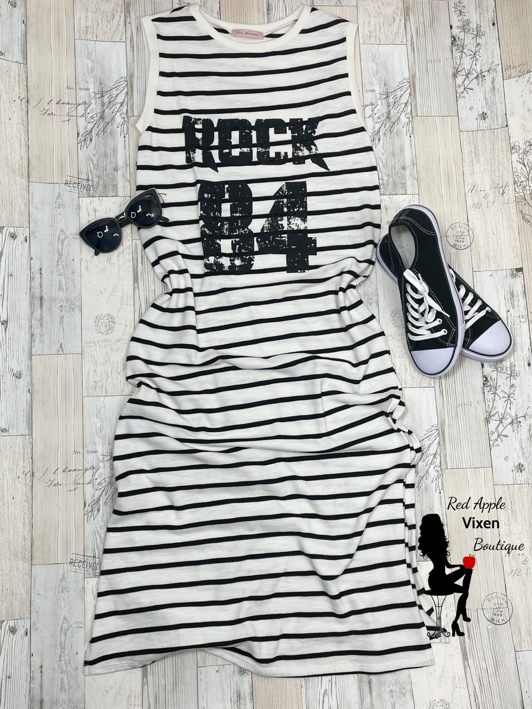 Black and White Striped Maxi Dress - Red Apple Vixen Boutique