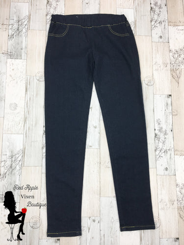 Dark Wash Jeggings - Red Apple Vixen Boutique