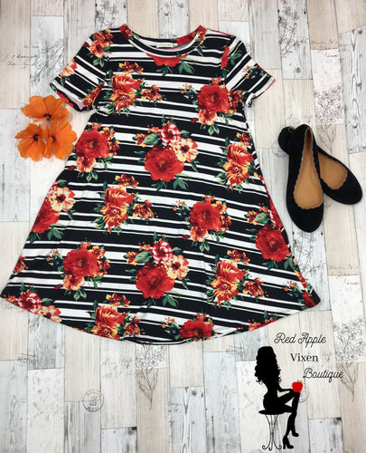 Floral and Stripe Mix Trapeze Dress - Sassy Chick Clothing