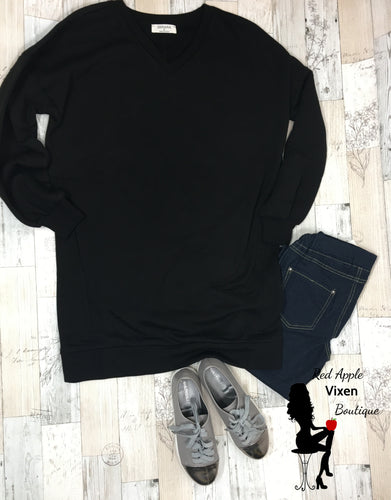 Oversized Loose fit V Neck Sweatshirt with Pockets