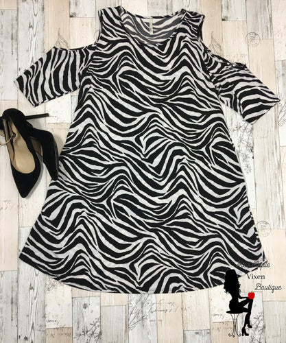 Cold Shoulder Zebra Print Dress - Red Apple Vixen Boutique